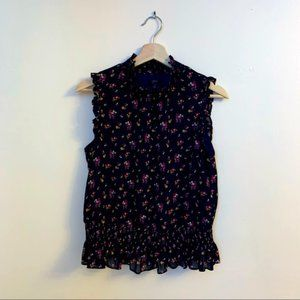 J. Crew Short-Sleeve Smocked Top in Ditsy Floral